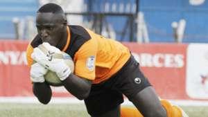 Tusker keeper David Okello makes a save against Ulinzi Stars