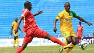 Duncan Otieno of Mathare United v Alphonse Ndonye of Rangers