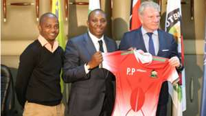 Nick Mwendwa of FKF and Paul Put of Harambee Stars