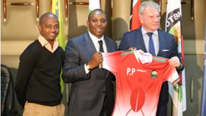 Nick Mwendwa of FKF and Paul Put of Harambee Stars