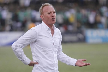 Frank Nuttall reacts as Ulinzi Stars defence remained tight during their league match last season