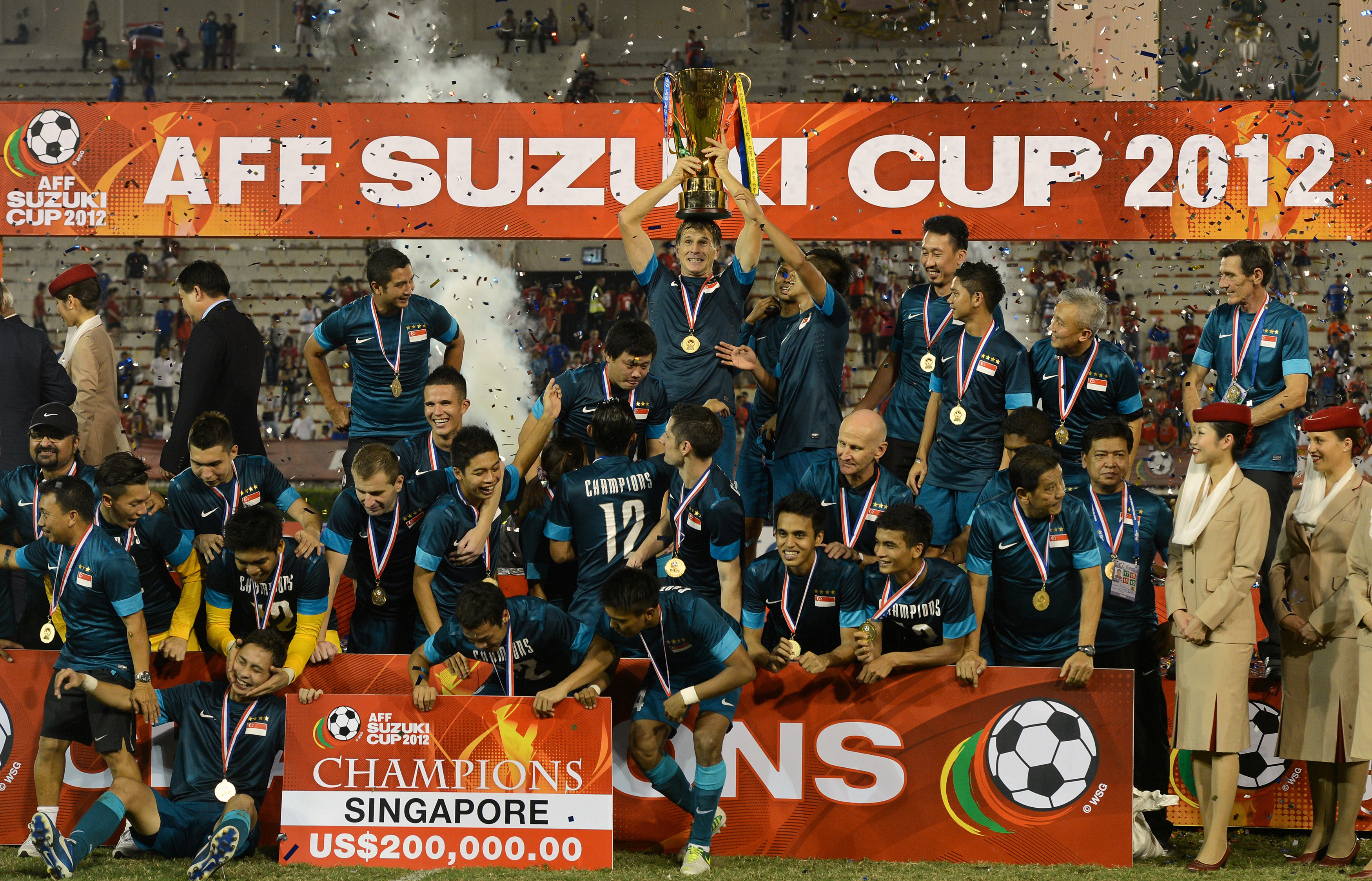 Singapore celebrating their 2012 AFF Cup title