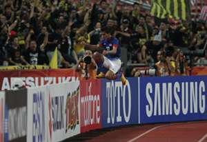 Malaysia's Azamuddin Akil celebrating his goal 2012