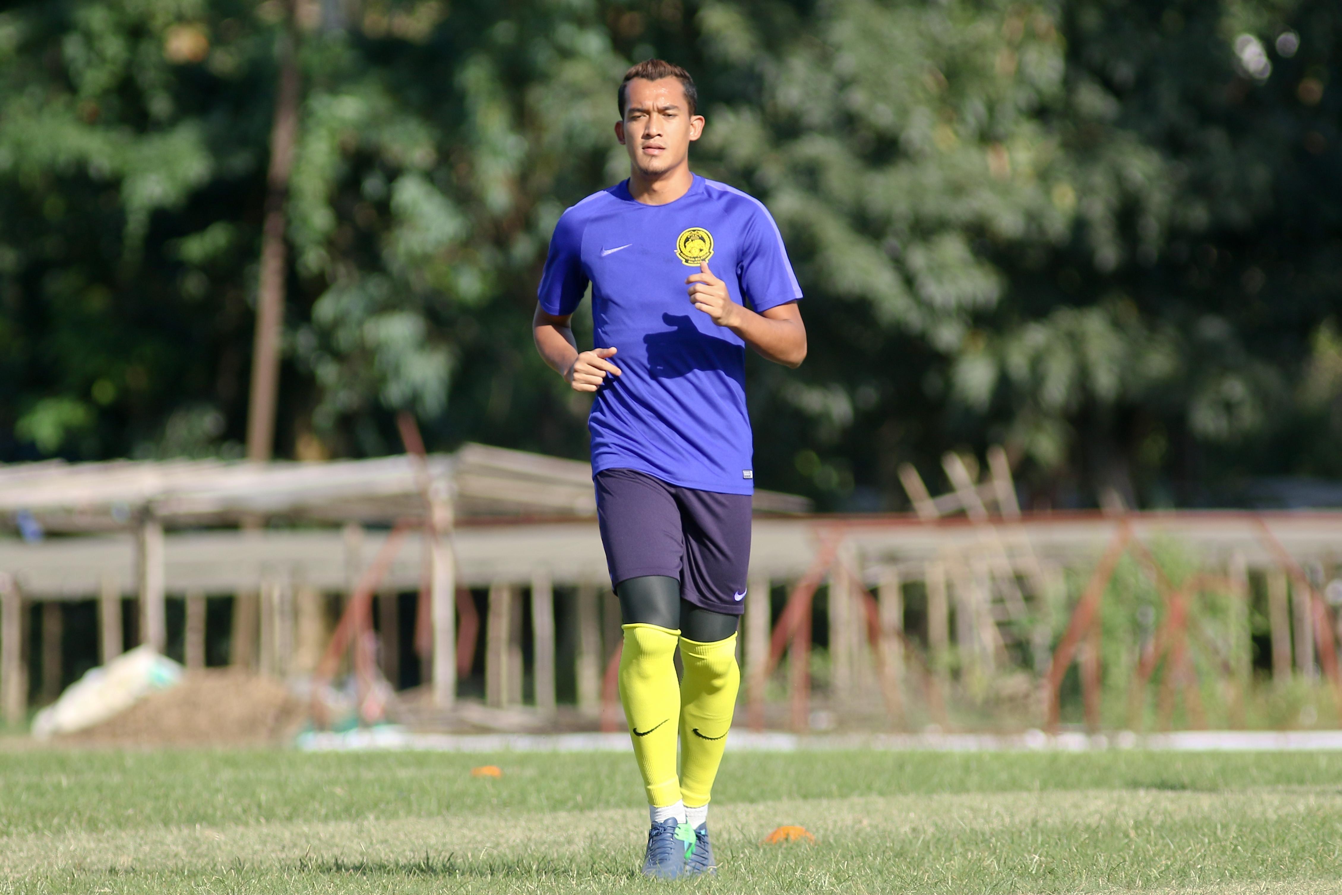 Malaysia's Fakri Saraani during training on 22/11/16