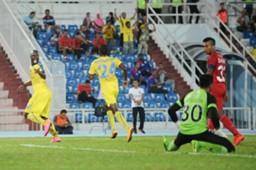 Pahang hitman Dickson Nwakaeme wheels away in celebration after scoring against ATM.