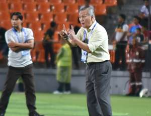 Felda United head coach Irfan Bakti (foreground) during his team's match against Terengganu 20/7/2016