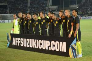 Malaysia players lining up before the game against Myanmar - 2016 AFF Suzuki Cup 26/11/16