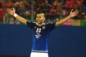 Johor Darul Ta'zim's Nazrin Nawi celebrating his goal against PDRM 13/8/2016