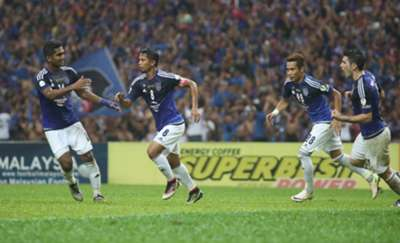 Johor Darul Ta'zim's Safiq Rahim celebrating his penalty in the FA Cup final