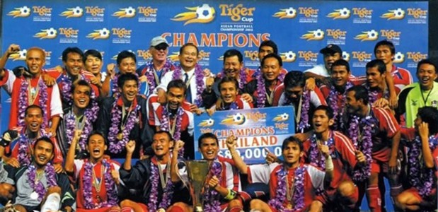 Thailand celebrating their 2002 AFF Cup win