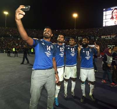 Johor Darul Ta'zim's Sasi Kumar, S. Chanturu, S. Kunanlan and Gary Steven celebrates with a selfie