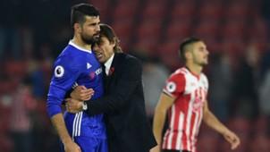 Diego Costa, Antonio Conte, Southampton, Chelsea, Premier League, 10302016