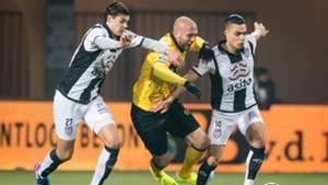 Justin Hoogma, Dani Schahin, Joey Pelupessy, Heracles Almelo - Roda JC, Eredivisie, 02112017
