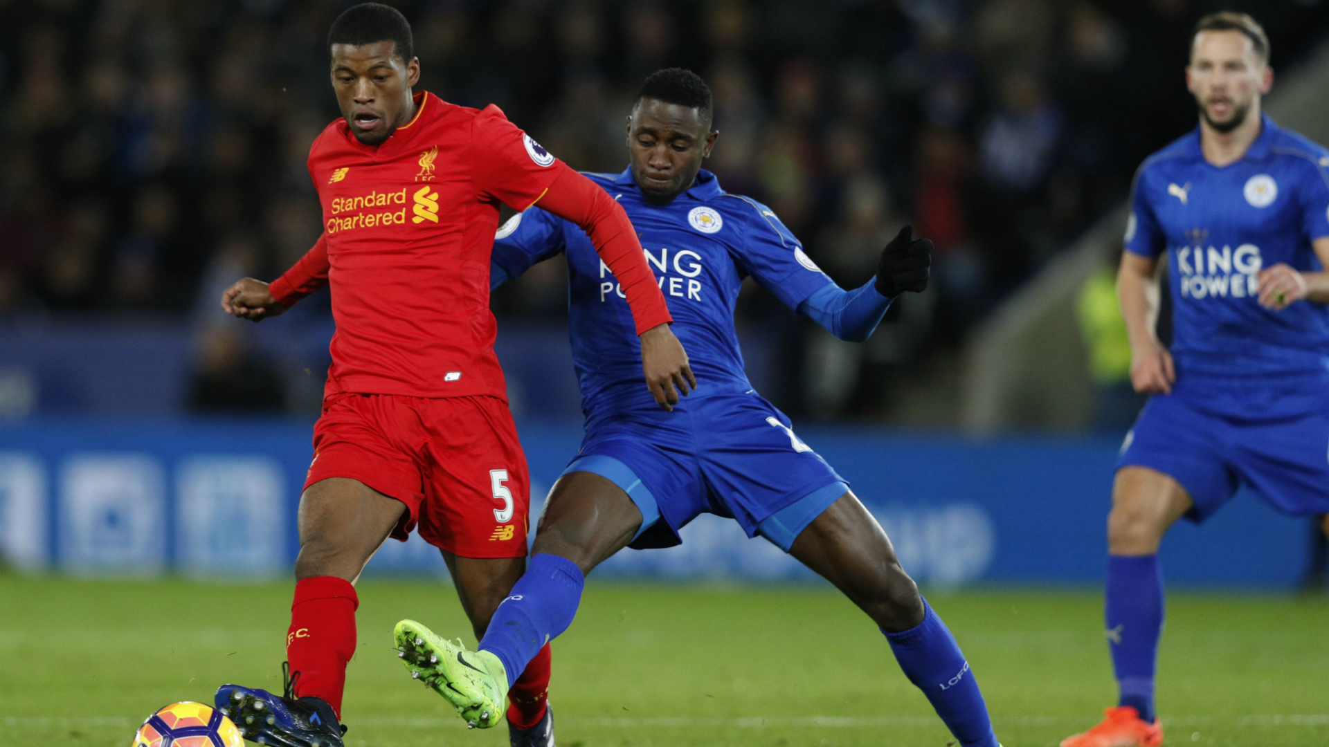 Georginio Wijnaldum, Wilfred Ndidi, Leicester City - Liverpool, Premier League, 02272017