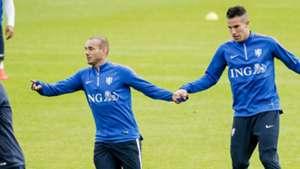 Wesley Sneijder Robin van Persie Netherlands training