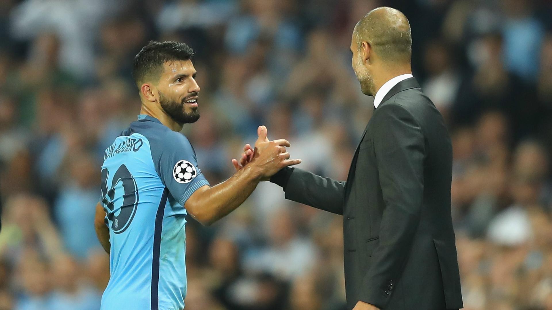 Sergio Aguero, Pep Guardiola, Manchester City, Champions League, 20160914