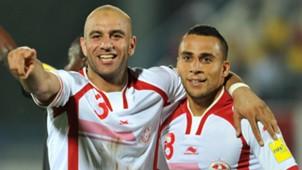 Aymen Abdennour and Anis Ben Hatira of Tunisia