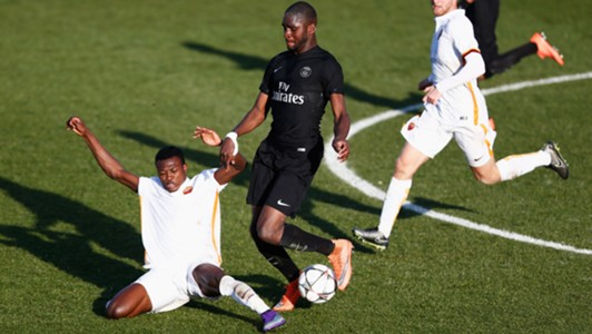 Nura Abdullahi of Roma and Odsonne Edouard of PSG
