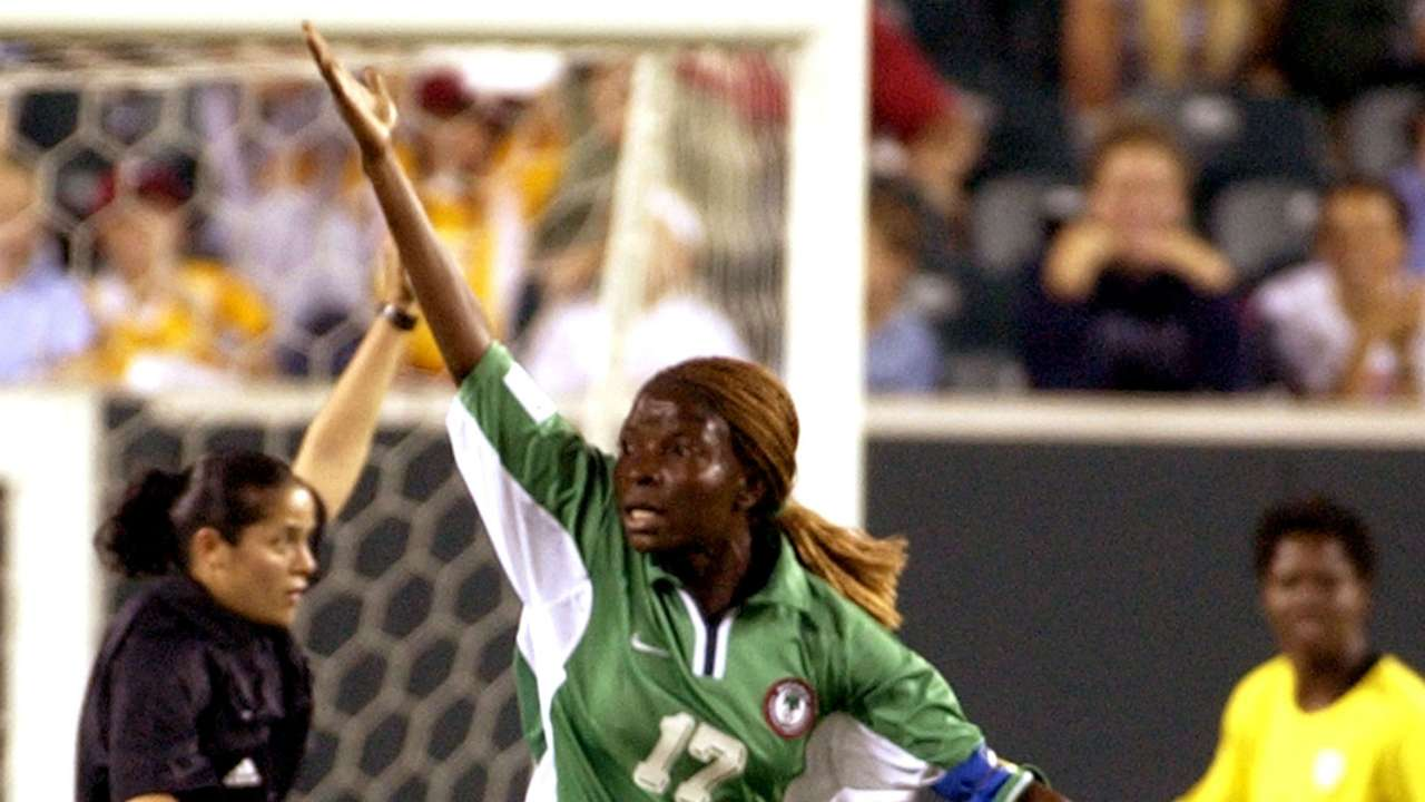 Florence Omagbemi celebrates a goal that was disallowed at USA 2003