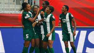 Nigeria women celebrate Francisca Ordega's late equaliser