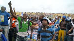 Enyimba fans celebrate winning the Nigeria Professional Footall League title