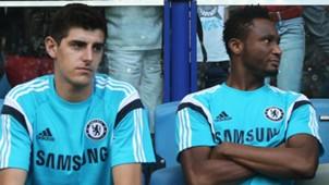 Thibaut Courtois & John Obi Mikel of Chelsea
