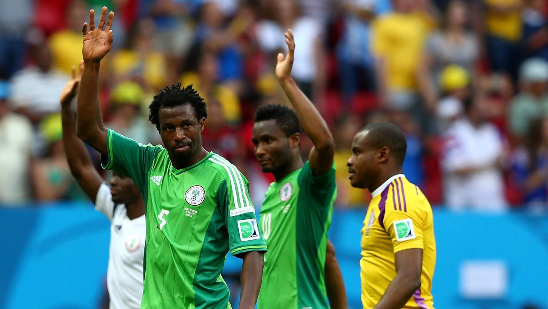 Efe Ambrose, John Obi Mikel, Vincent Enyeama of Nigeria