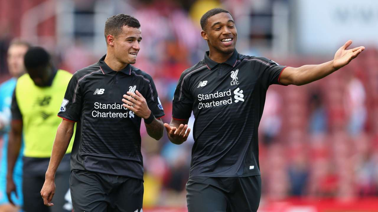 Philippe Coutinho and Jordon Ibe of Liverpool
