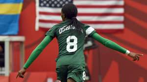 Asisat Oshoala and Chinwendu Ihezuo arrive at Super Falcons camp