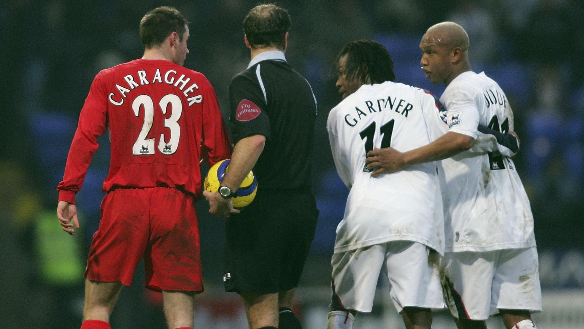 Jamie Carragher of Liverpool, Ricardo Gardner & El Hadji Diouf of Bolton