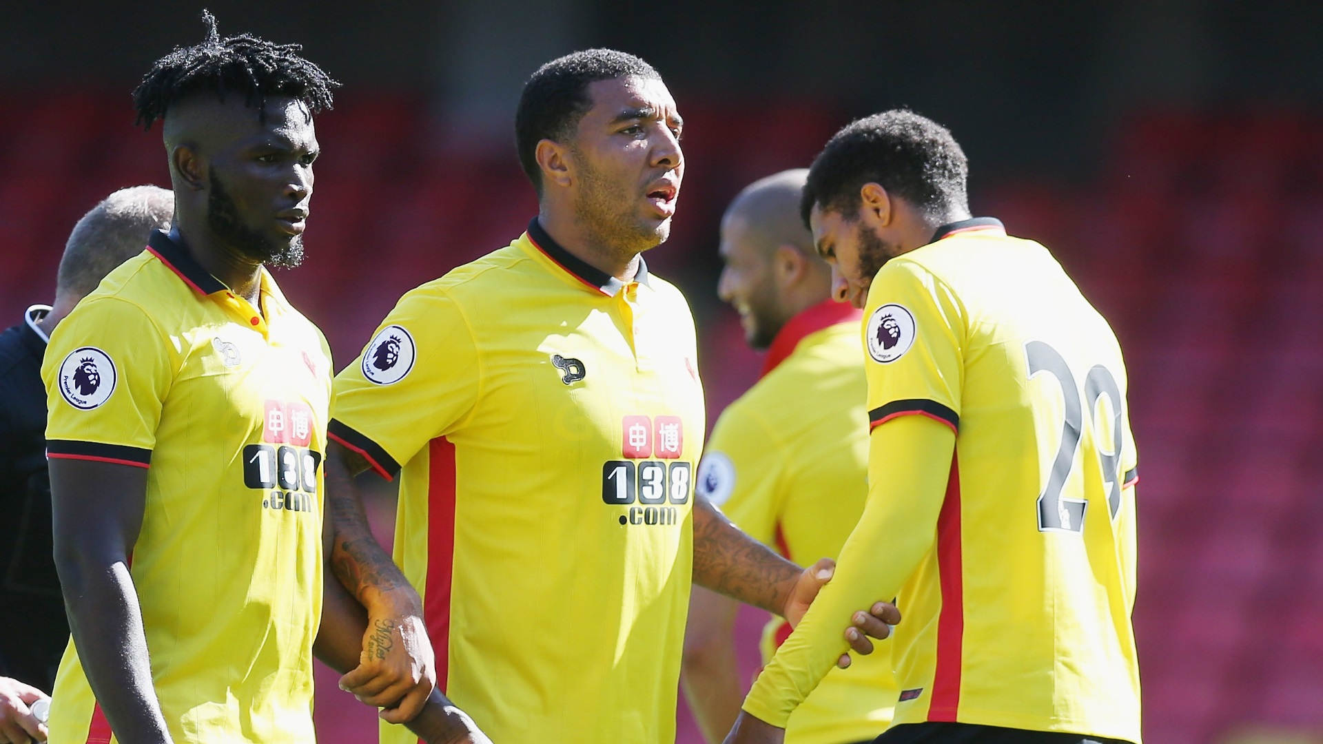 Isaac Success, Troy Deeney and Etienne Capoue of Watford