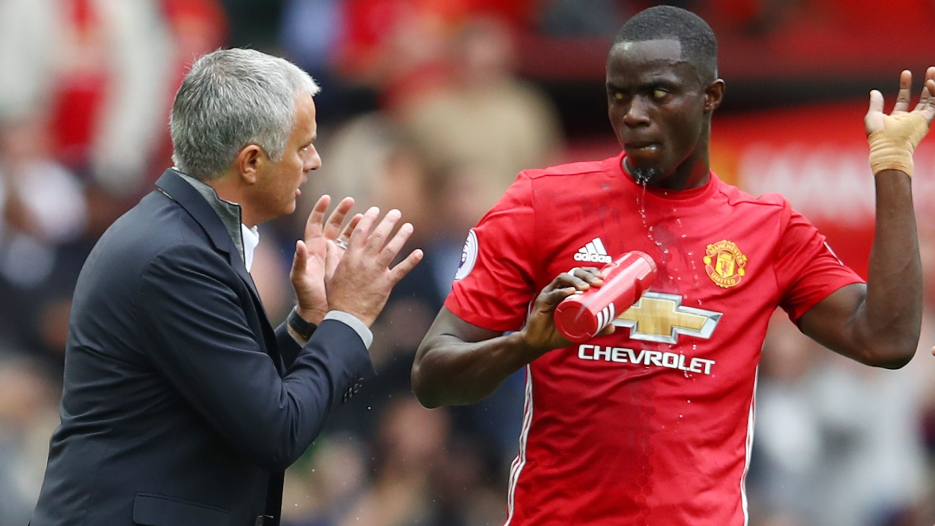 Jose Mourinho and Eric Bailly of Manchester United