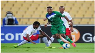 Mabuti Potloane (Lesotho) challenged by Njakanirina Tobisoa (Madagascar) 18 May 2015 Cosafa Cup