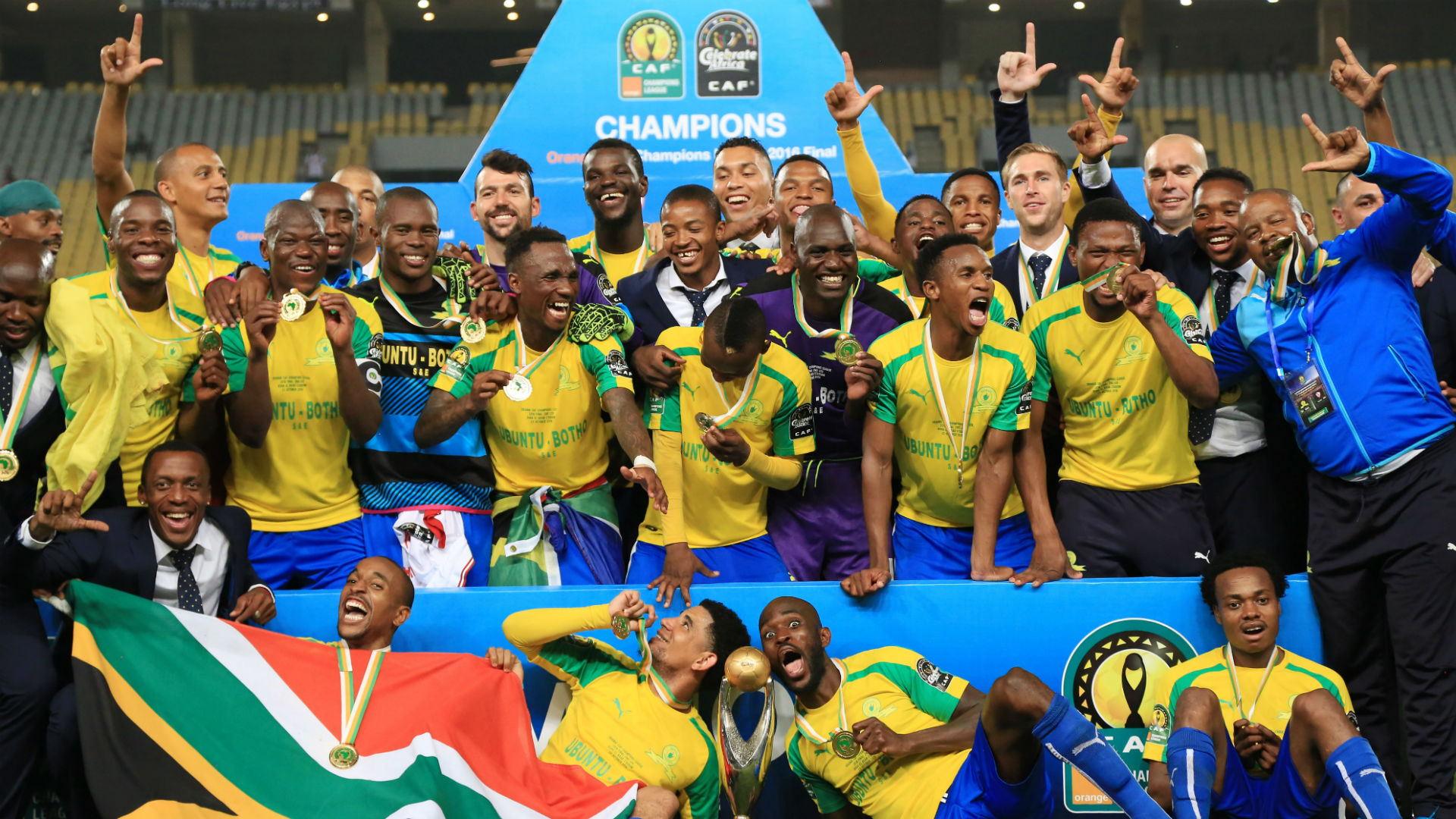 Mamelodi Sundowns celebrate winning Caf Champions League