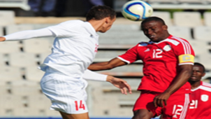 Ronald Ketjijere (Namibia) Karl Hall (Seychelles) Cosafa Cup 2015