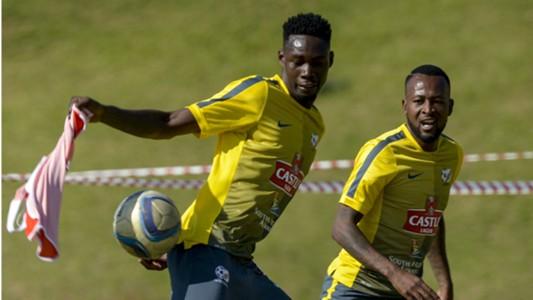 Eric Mathoho and Mpho Makola of Bafana Bafan