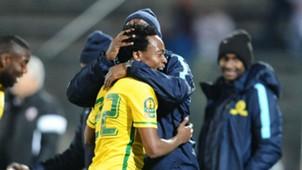 Percy Tau and Pitso Mosimane celebrate goal