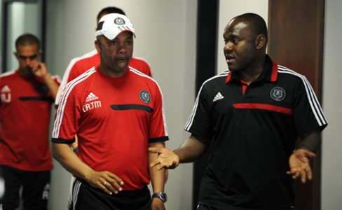 Orlando Pirates assistant coach Tebogo Moloi and manager Williams Okpara