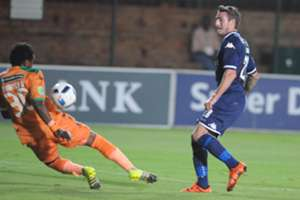 James Keene against Patrick Tignyemb - Bloemfontein Celtic v Bidvest Wits