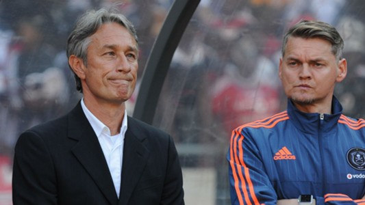 Muhsin Ertugral and Bradley Carnell of Orlando Pirates