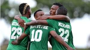 AmaZulu celebrate Siyabonga Nomvethe's goal