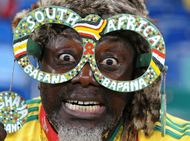 A delighted South African football fan