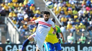 Basem Abdalla of Zamalek challenged by Hlopho Kekana of Mamelodi Sundowns