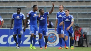 Thuso Phala and SuperSport United teammates