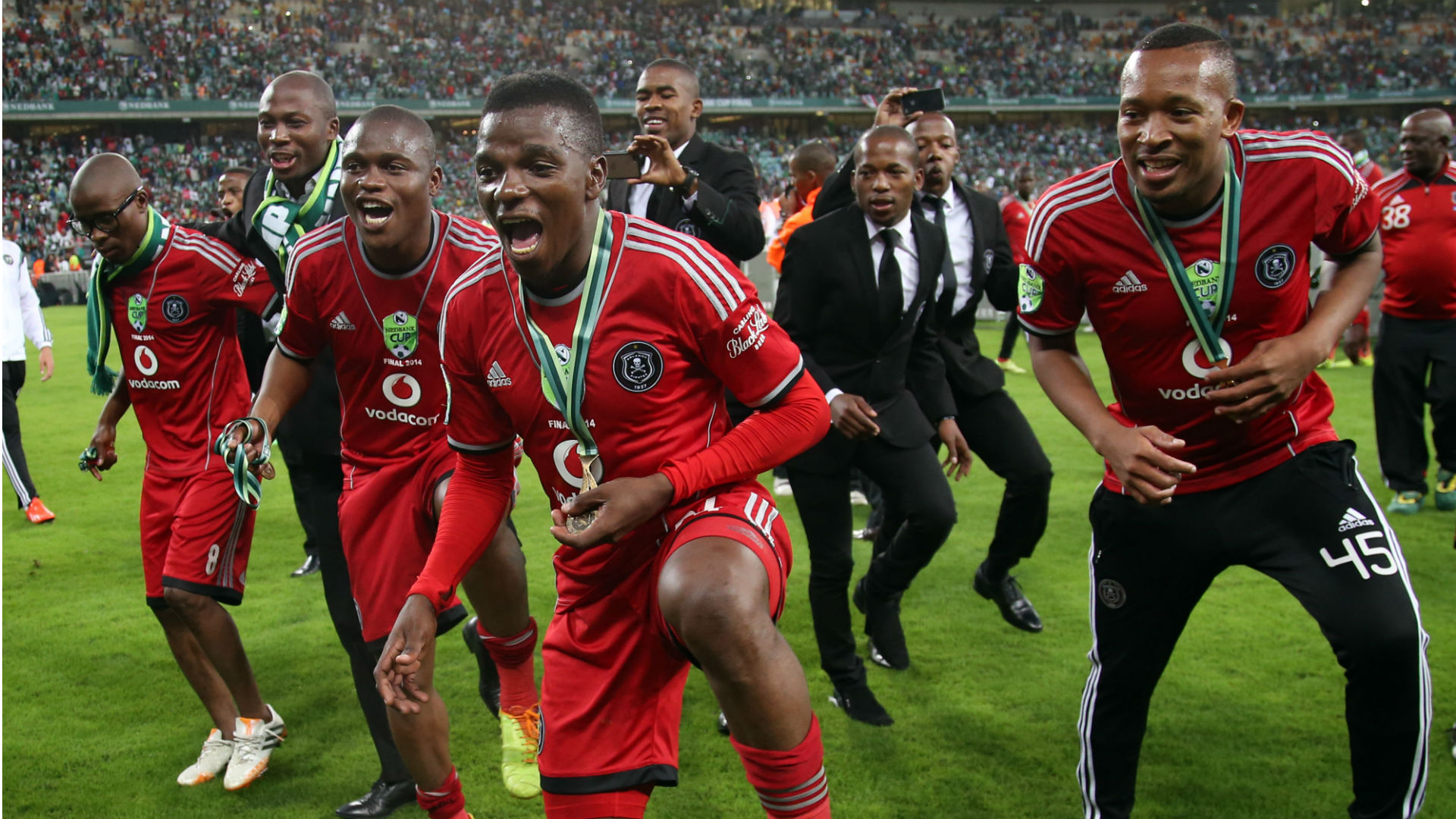 Orlando Pirates players celebrate Nedbank Cup final win