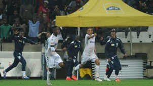 Daine Klate celebrates scoring against his brace against Sundowns