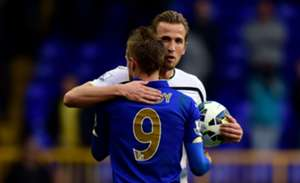 Harry Kane of Spurs & Jamie Vardy of Leicester City