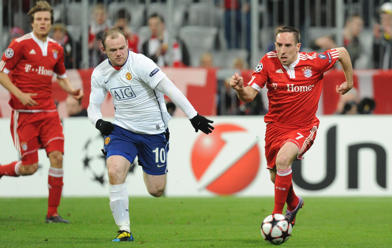 Manchester United's Wayne Rooney and Bayern Munich's French midfielder Franck Ribery