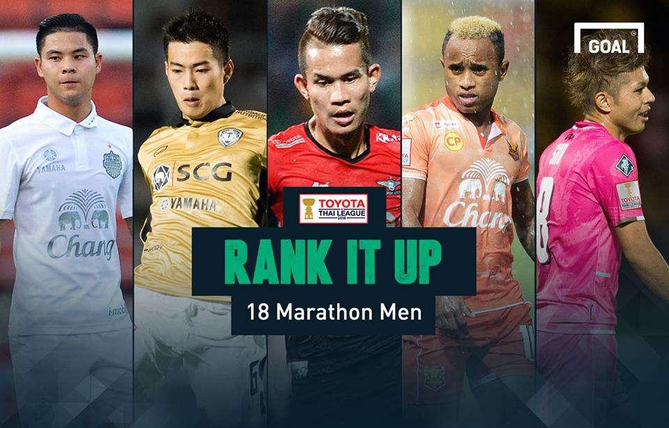 RANK IT UP : ใครคือแข้งเอาท์ฟิลด์ลงสนามมากสุด 18 ทีมไทยลีก 2016