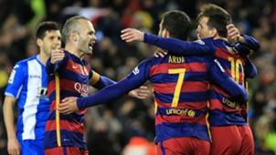 Arda Turan Andres Iniesta Lionel Messi Barcelona Espanyol 01062016